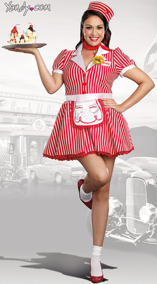 Plus Size Diner Doll Costume, Plus Size 50s Costume, Plus Size Waitress Costume