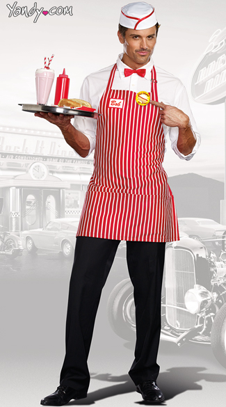 Diner Dude Costume, Red and White Diner Costume, Men\'s Waiter Costume
