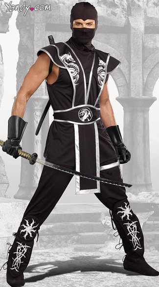 Men\'s Blades Of Death Ninja Costume, Black Ninja Costume, Men\'s Black Ninja Costume