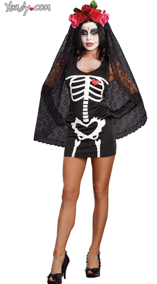 Skeleton Starter Dress Costume, Dia De Los Muertos Costume, Mexican Day Of The Dead Costume