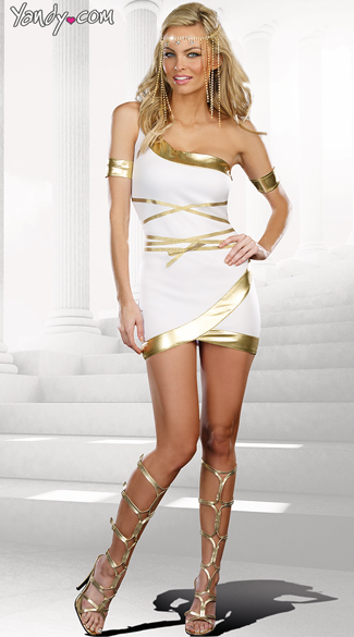 Worship Me Goddess Costume, Cheap Goddess Costume, Womens Greek Costume