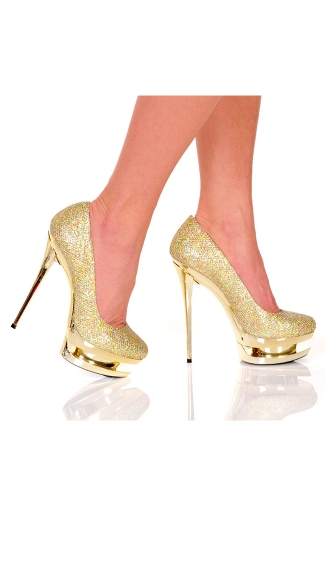 Glitter Fabric Pump with Double Layer Platform