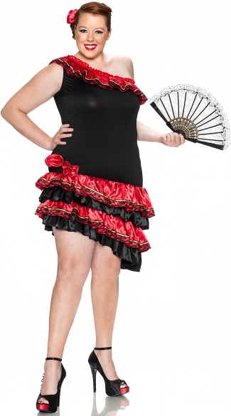 Plus Size Spanish Heat Costume, Plus Size Caliente Costume, Plus Size Sexy Flamenco Costumes for Women, Plus Size Spanish Flamenco Dancer Outfit