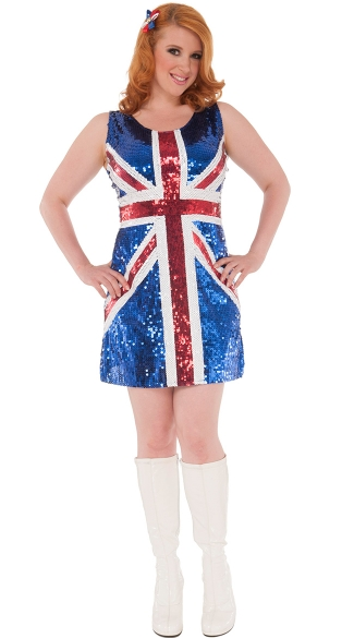 Size Union Jack Brit Costume, Plus Size Sequin British Hottie ...