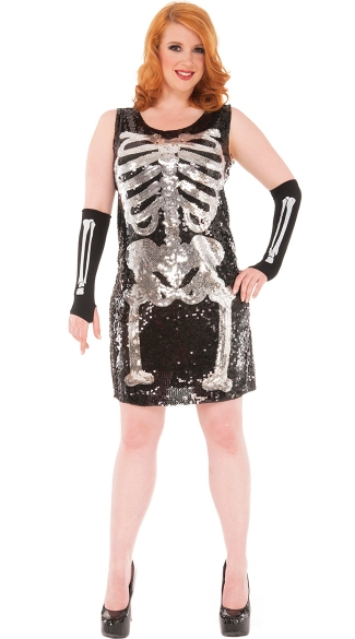 Plus Size Party Skeleton Costume, Plus Size Sexy Sequin Skeleton Halloween Costume, Plus Size Skeleton Dress Costume