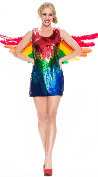 Sexy Parrot Costume, Sequin Bird Costumes, Sexy Halloween Parrot Costume