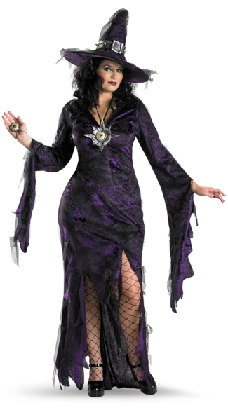 Plus Size Sorceress Costume, Plus Size Purple Witch Costume