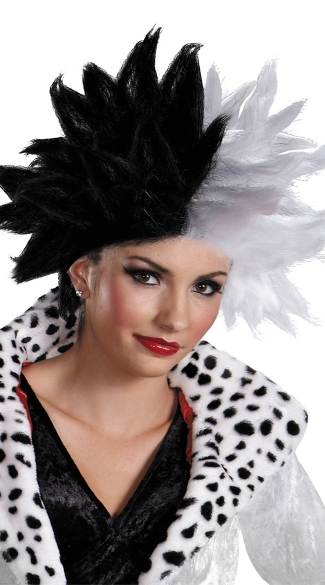 Cruella DeVil Wig, Black and White Wig, Short Spiked Wig