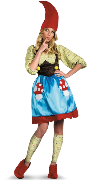 Ms. Gnome Costume, Adult Garden Gnome Costume, Blue Gnome Costume