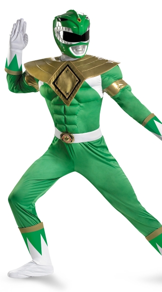 Mens Green Power Ranger Costume, Mens Power Ranger Halloween Costume, Green Ranger Costume