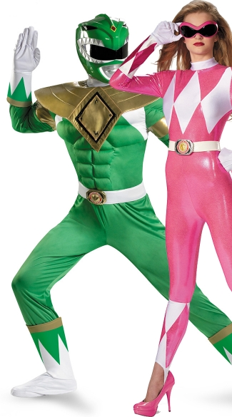 Power Rangers Couples Costume, Green And Pink Power Ranger Costumes, Mighty Morphing Power Rangers Couples Costume