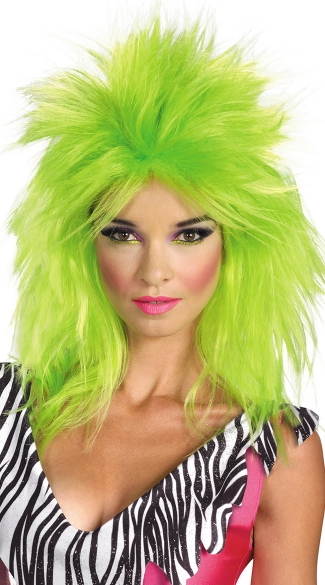 Green Jem Wig, Pizzaz Wig, Green Mullet Wig