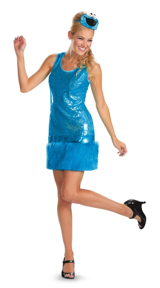 Womens Cookie Monster Costume, Adult Cookie Monster Costume, Sequin Cookie Monster Costume