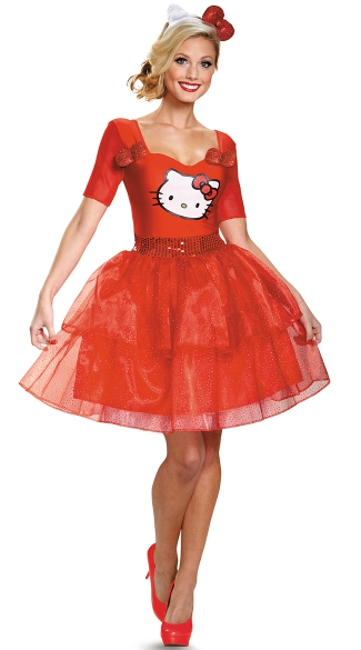Red Hello Kitty Costume, Adult Hello Kitty Costume, Hello Kitty Halloween Costume