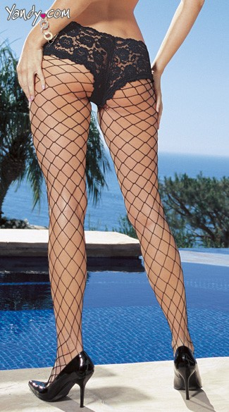 Diamond Net Pantyhose with Cheeky Boy Short Lace Top.