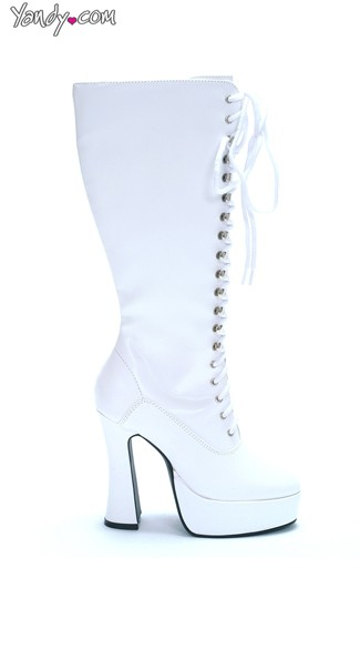 "5"" Heel Lace Up Knee Boots with Zipper"