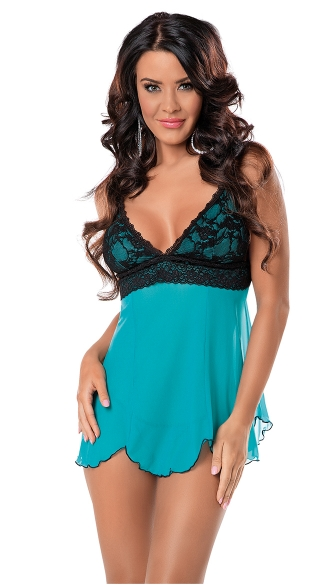 Dreamy Lacey Baby Doll, Turquoise Babydoll, Blue Babydoll