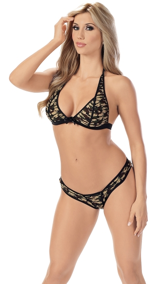 Army Brat Bra and G-String Set, Camo Print Lingerie, Camo Panties