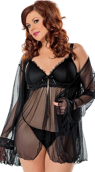 Plus Size Babydoll and Robe Set