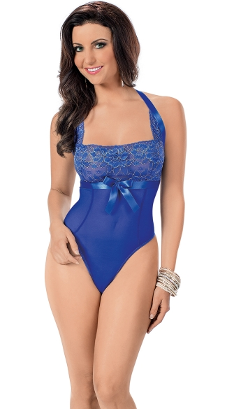 Elegant Seduction Embroidered Halter Teddy, Blue Sheer Teddy with ...