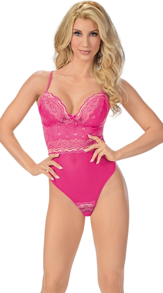 Sexy Heart Attack Lace Teddy, Hot Pink Lacy Teddy, G-String Teddy in Pink