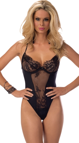 Hollywood Glamour Underwire Sheer Lace Teddy, Eyelash Lace Teddy Lingerie, Sexy Sheer Black Lingerie