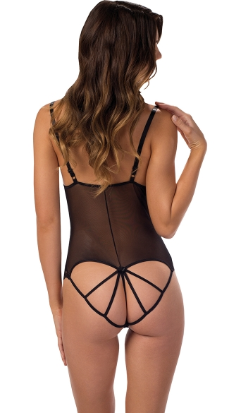 Sheer Open Cup Cage Back Teddy