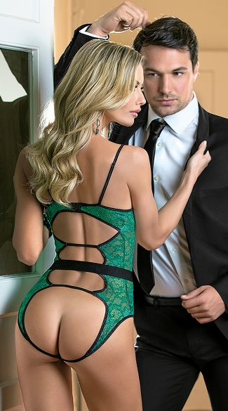 Green Lace Strappy Teddy