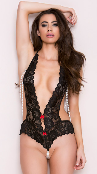 Beaded Black Lace Teddy, Pearl Teddy, Pearl and Lace Teddy