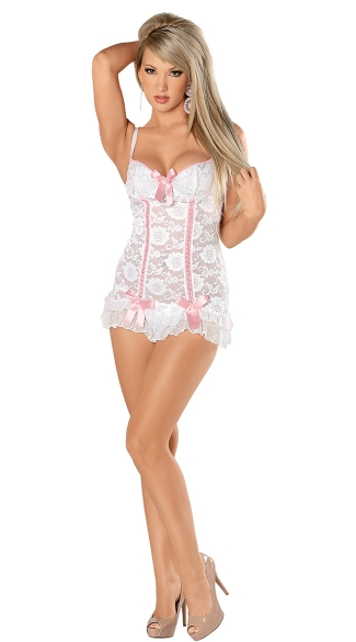 True Bliss Chemise, Bridal Lace Chemise, White Lace Chemise with Pink Bows