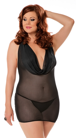 Plus Size Mesh Cowl Neck Dress