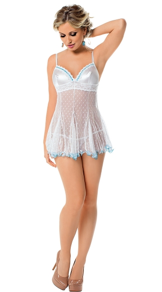Mystical Princess Babydoll, Dot Mesh Baby Doll, Two Tone Baby Doll