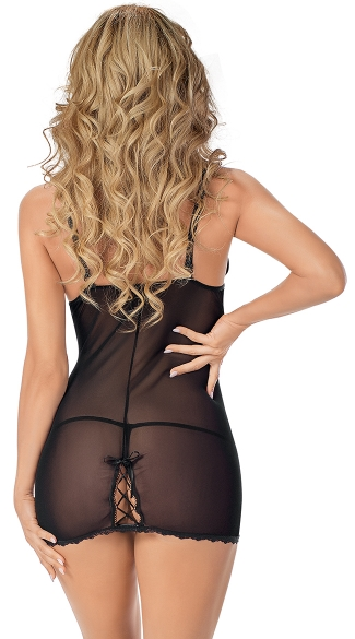 Two Tone Satin Lover Chemise Dress with G-String