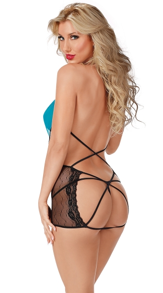 Lacy V-Neck Chemise with Strappy Backside