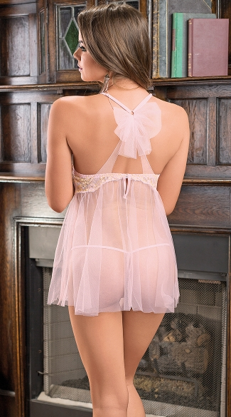 Lacey Pink Babydoll