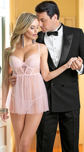 Traces of Lace Pink Babydoll