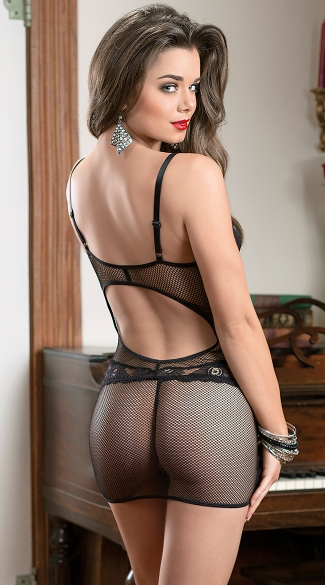 Lustful Fishnet and Lace Chemise