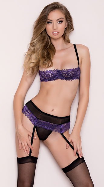 Purple Lace Cupless Bra And Skirtini Purple Bra And