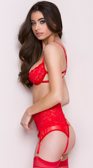 Red Room Lace Bra Set with Thigh Highs