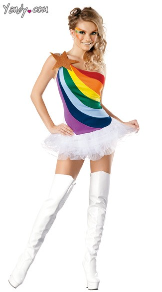 Sexy Rainbow Costume, Rainbow Girl Costume, Rainbow Halloween Costume