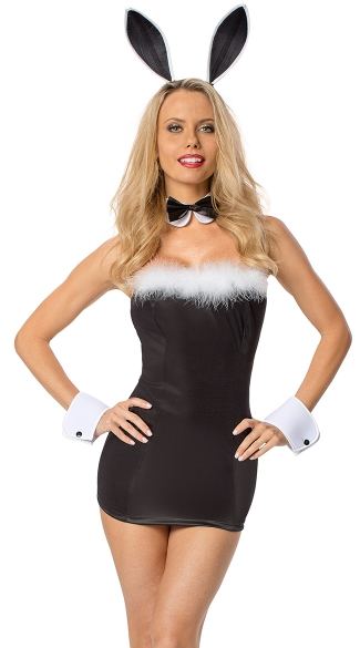 Sexy Cocktail Bunny Costume, Tuxedo Bunny Costume, Black and White Bunny Costume