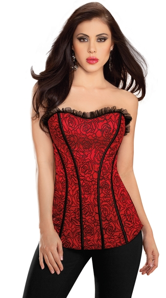 Long Rose Corset with Ruffle Trim, Strapless Corset, Lace Up Waist Cincher