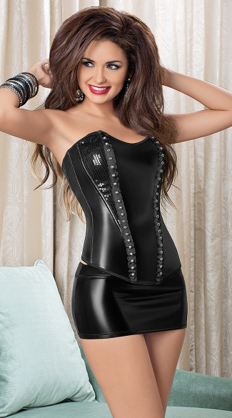 Studded Hussy Corset, Waist Cincher Corset, Faux Leather Corsets