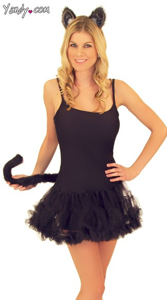 Cat Ears And Tail Kit. Alice in Wonderland costume.