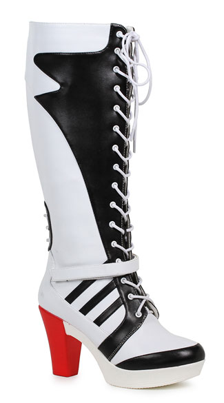 black and white knee high boots lace up boots yandy