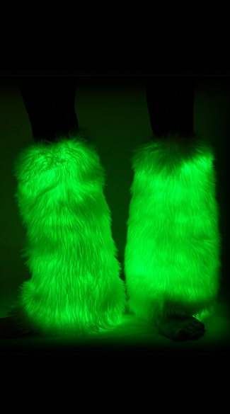 Fuzzy Light Up Green Legwarmers, Light Up Leg Warmers, Green Furry Leg Warmers