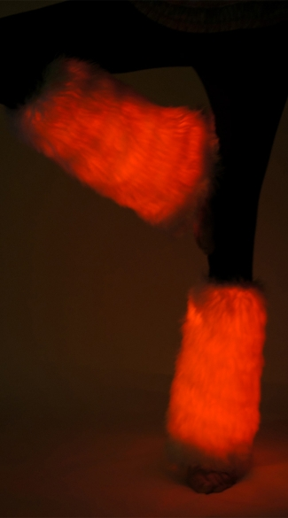 Fuzzy Light Up Red Legwarmers