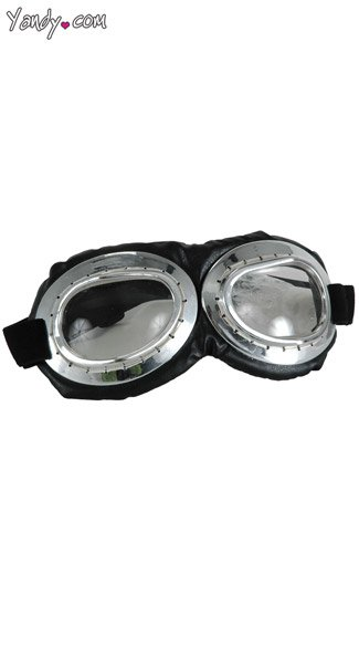 Silver and Black Aviator Goggles