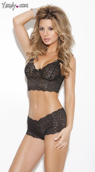Stretch Lace Camisole And Boyshorts