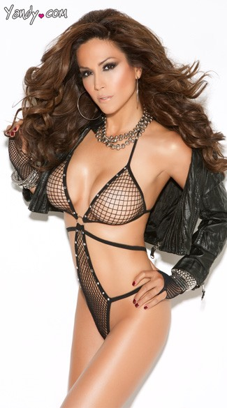 Diamond Net Teddy With Rhinestone Detailing